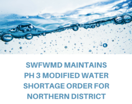 SWFWMD Maintains Ph 3 Water Shortage Order for Northern SWFWMD District